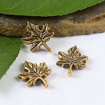 20pcs dark gold-tone maple leaf charms findings h1998