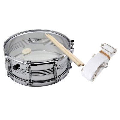 Silver 14inch Snare Drum Percussion Musical for Music Leanring w/ Stick Belt