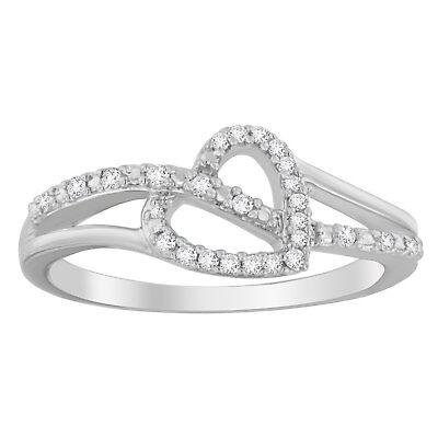 Sterling Silver 1/8ct TDW Diamond Heart-shaped Ring