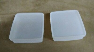 2 Tupperware Square Away SANDWICH KEEPERS White Sheer Containers #670 Vtg USA