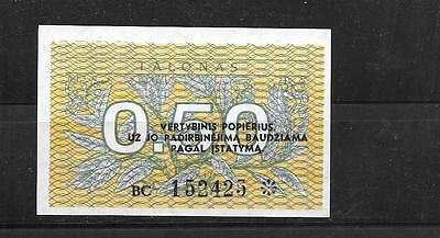 LITHUANIA #31b 1991 UNCIRCULATED .50 TALONAS BANKNOTE BILL CURRENCY MONEY