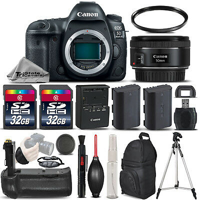 Canon EOS 5D Mark IV DSLR Camera GPS+ 50mm 1.8 + BATT GRIP + EXT BATT - 64GB KIT