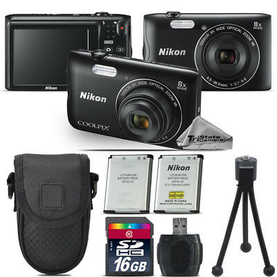 Nikon Coolpix A300 20.1MP Digital Camera Black 8x Optical Zoom - 16GB Kit Bundle