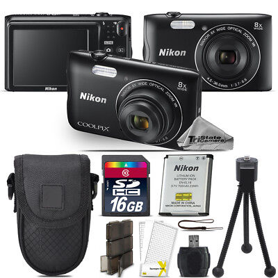 Nikon Coolpix A300 Digital Camera Black 8x Optical Zoom + 16GB - Essential Kit