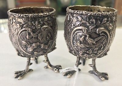 SCARCE!!! Ca. 1800s CONTINENTAL SILVER EGG HOLDERS - BEAUTIFUL WORK AND DESIGN!