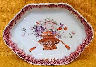 18thC Chinese Qianlong Famille Rose SPOON TRAY Dish