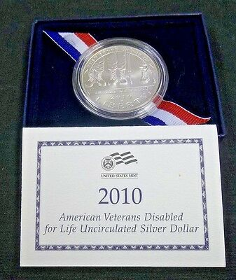 2010 American Disabled Veterans Bu Silver Commemorative $1 With Ogp   (1316Jgr)