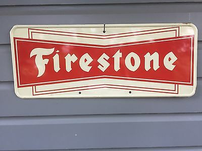 Vintage Original 1950's Garage Collectible Firestone Tires Advertising Tin Sign