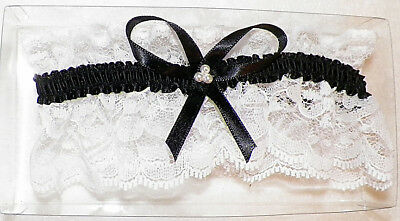 White Lace Garter With Black Ribbon for Bridal or Prom