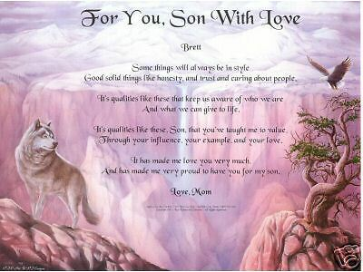 SON Poem Prayer Wolf Eagle Print Personalized Name