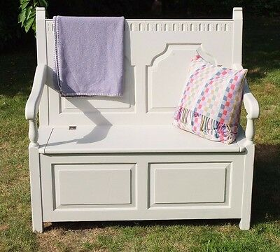 Monks Bench/pew/settle/hall Storage Painted In Farrow & Ball Elephant's Breath