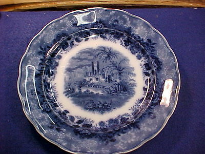 """1862-67 Staffordshire Flow Blue Burgess & Leigh OLD CASTLE 9 3/4"""" Plate minty"""