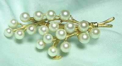 14K Gold Pin w Natural Pearls 9.4 grams  5.5 mm pearls 2 3/8""