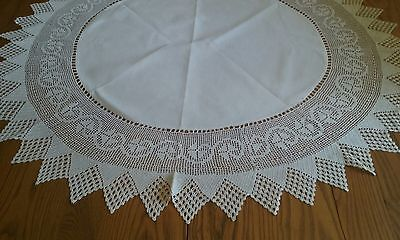 "Lovely Vintage 38"" Ivory Linen Tablecloth ~ 8"" Hand Crocheted Edge"