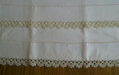 "Set Of Unused Vintage Ivory Cotton Pillowcases Tubing ~ 1"" Hand Tatted Lace"
