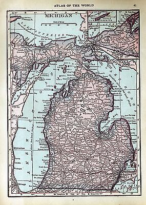100 Year-Old Antique Atlas Map 1917 of Michigan & Wisconsin