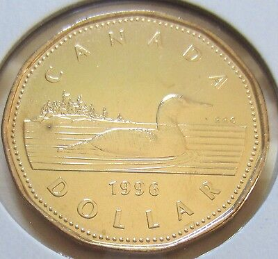 1996 Canada One Dollar 1 $ Coin. (UNC. Loonie)