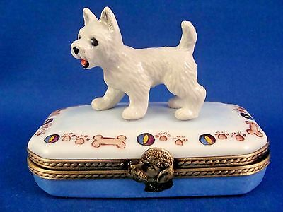 West Highland Terrier - Westie - FRENCH LIMOGES box