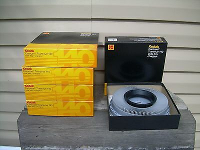 Lot of 5 KODAK CAROUSEL TRANSVUE 140 Slide Trays
