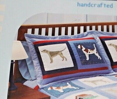New DOGGY & DOGGY Quilted Standard Pillow Sham  Embroidered Blue Red Boy