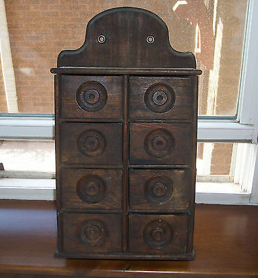 Old Wooden Spice Box  - Eight Drawers