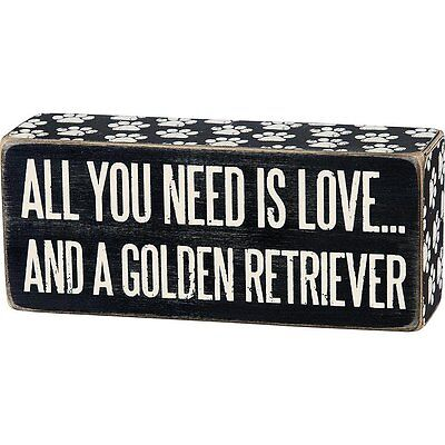 "All You Need Is Love GOLDEN RETRIEVER Box Sign Primitives By Kathy 6"" x 2.5"""