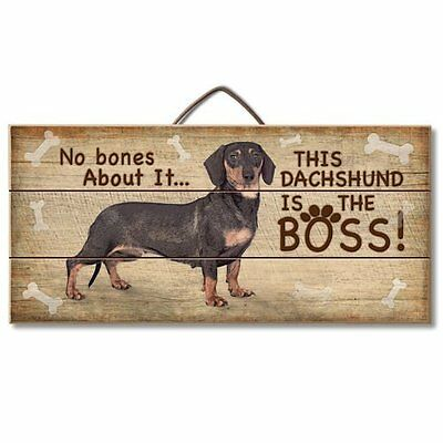 Dachshund (Black) Is The Boss Reclaimed Pallet Wood Sign USA Made