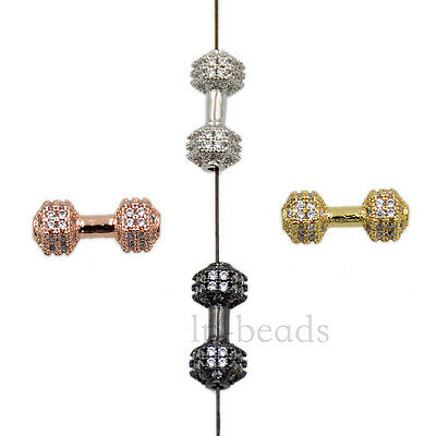 Dumbbell Clear Zircon Micro Pave Gemstones Connector Charm Beads Bracelet Silver