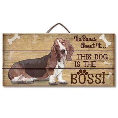 Basset Hound Is The Boss Reclaimed Pallet Wood Sign USA Made