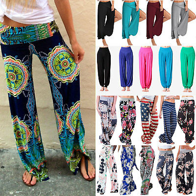 Ladies Floral Print Plain Palazzo Trousers Women Wide Leg Pants Summer Plus Size