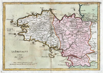 1767 Bretagne France gravure carte Karte map Kupferstich antique print Le Rouge