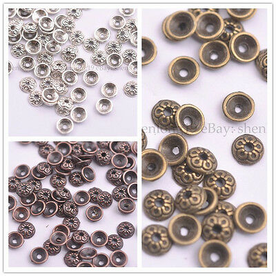 100Pcs Antique Silver/Gold/Bronze Round Charm Spacer Beads for Bracelet 3145
