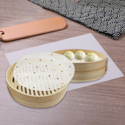 100 X Bamboo Steamer Dim Sum Paper Non Stick Restaurant Kitchen Under Steam Mat