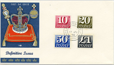 1970 Postage Dues 10p, 20p, 50p, £1 FDC