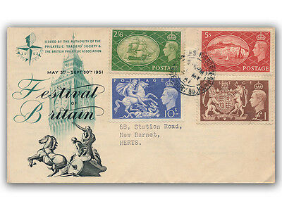 1951 King George VI Festival of Britain High Values FDC