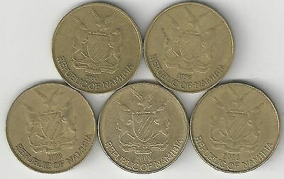 5 DIFFERENT 1 DOLLAR COINS from NAMIBIA (1993, 1996, 1998, 2008 & 2010)