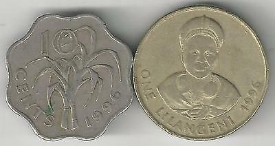 2 DIFFERENT COINS from SWAZILAND - 10 CENTS & 1 LILANGENI (BOTH DATING 1996)