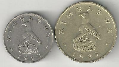 2 DIFFERENT COINS from ZIMBABWE - 10 CENTS & 2 DOLLARS (BOTH DATING 1997)