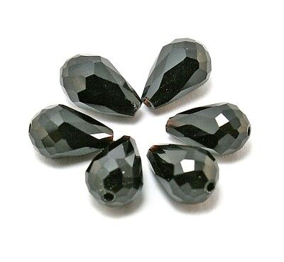 10pcs Center Drilled Faceted Teardrop Crystal Loose Spacer Glass Beads 10x15mm