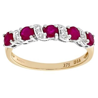 Revoni Real Red Ruby & Diamond Eternity Ring Solid 9ct Yellow Gold