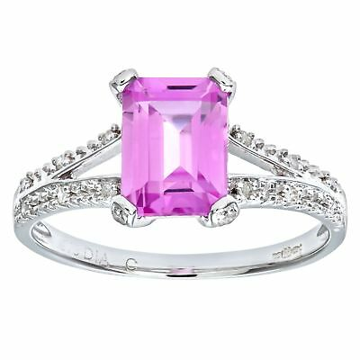 Revoni Pink Sapphire & Diamond Ring Solid 9ct White Gold