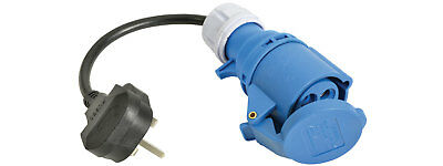 Caravan Mains Converter Cable UK Plug to 250v 16A Ceeform Female IP44 Rated