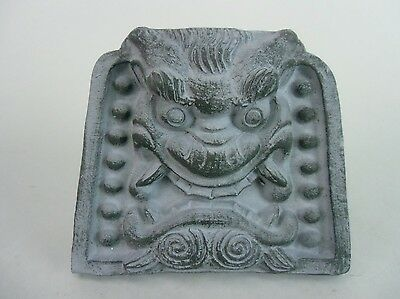 J478 Japanese Roof Tile Pottery Memorial Demon Oni Decoration Vtg Onigawara
