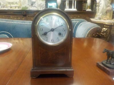Antique Mahogany Bracket Chiming Mantle Clock With Wind Up Key Working Order