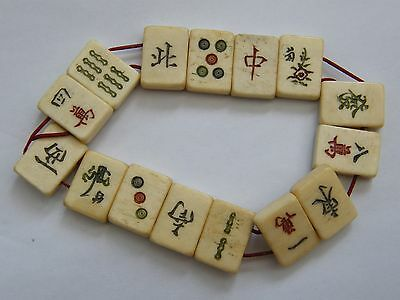 Vintage-Chinese Carved Netsuke Style Panel bracelet-Character Engraved-c1920's