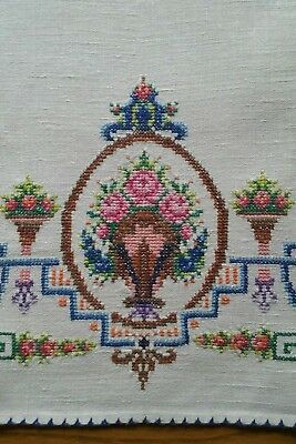 "Vintage 19"" Linen Tea Towel ~ Hand Embroidered Tiny Petit Point ~ Floral"