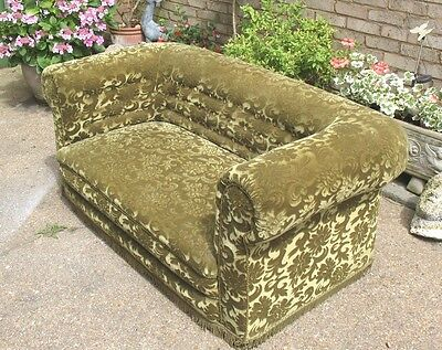 Original old antique heavy frame Chesterfield 2 seater Tub Sofa on castors