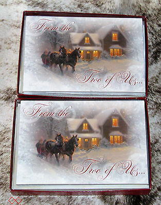 LEANIN TREE From the Two of Us~Horse-Drawn Sleigh Snow~20 total Christmas cards