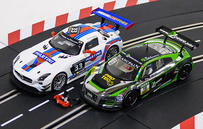 "Carrera Digital124 Mercedes Benz SLS AMG GT3 ""Martini No,33""+ Audi R8 LMS "" No.1"