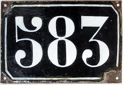 Large old black French house number 583 door gate plate plaque enamel metal sign